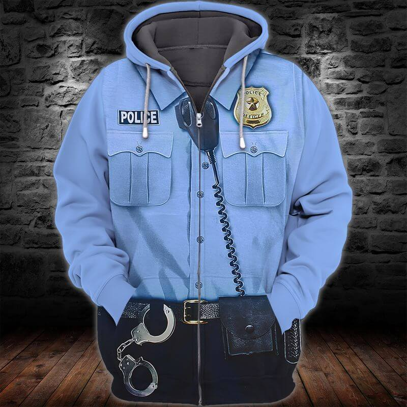 A 3D Police First Responder Hoodie Zipper to esteem police officers
