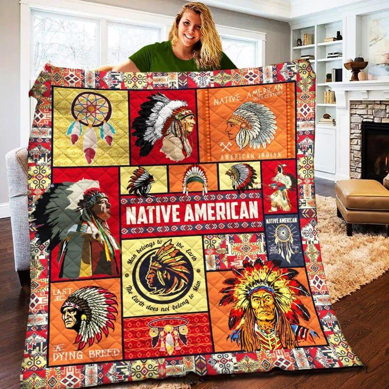 Native American Blankets Design with headdress patterns 3D printed quilt