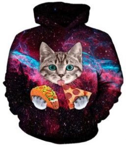 Funny Cat eating taco and pizza On Labor Day Hoodies