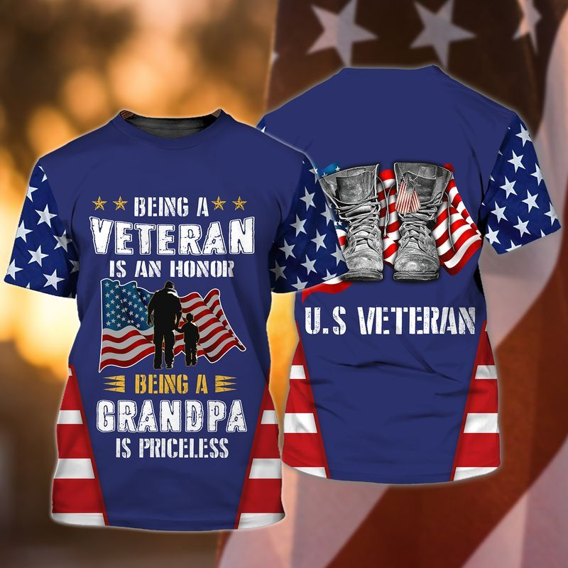 Being a veteran is an honor, Being a grandpa is priceless Veteran Grandparents T shirts