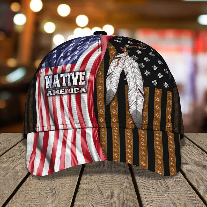 Native American caps America flag feather border patterns 3D printed