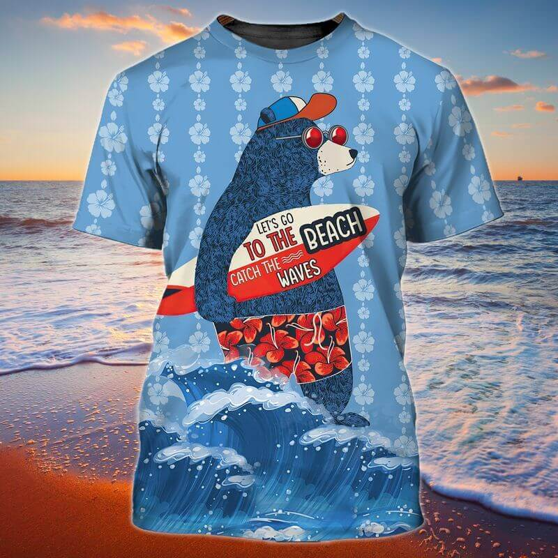 Let's go to the beach catch the waves, bear surfing on Labor Day T-shirts printed 3D