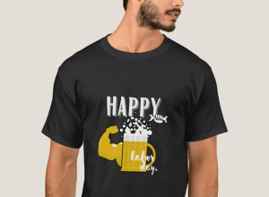 Muscled Glass of Beer Happy Labor Day T-shirts black for men