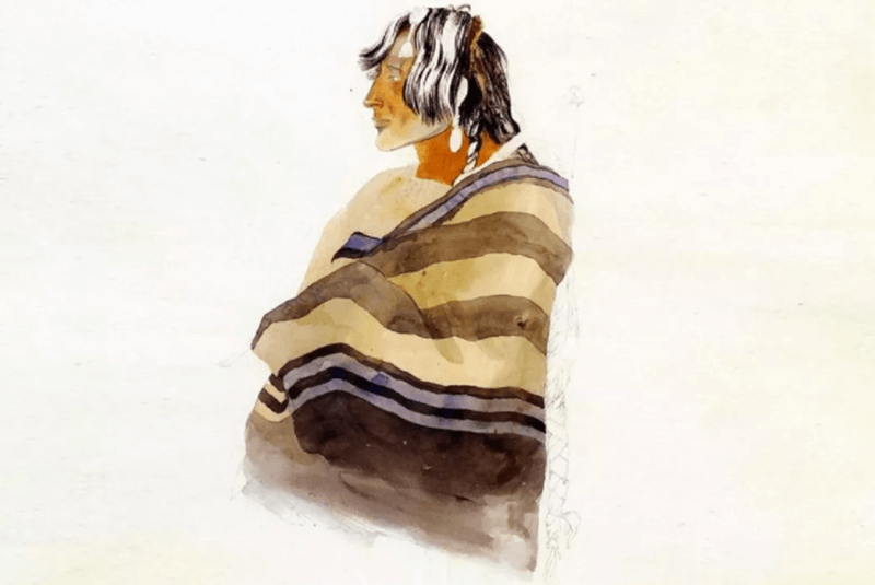 A native man uses Native American Indian Blankets