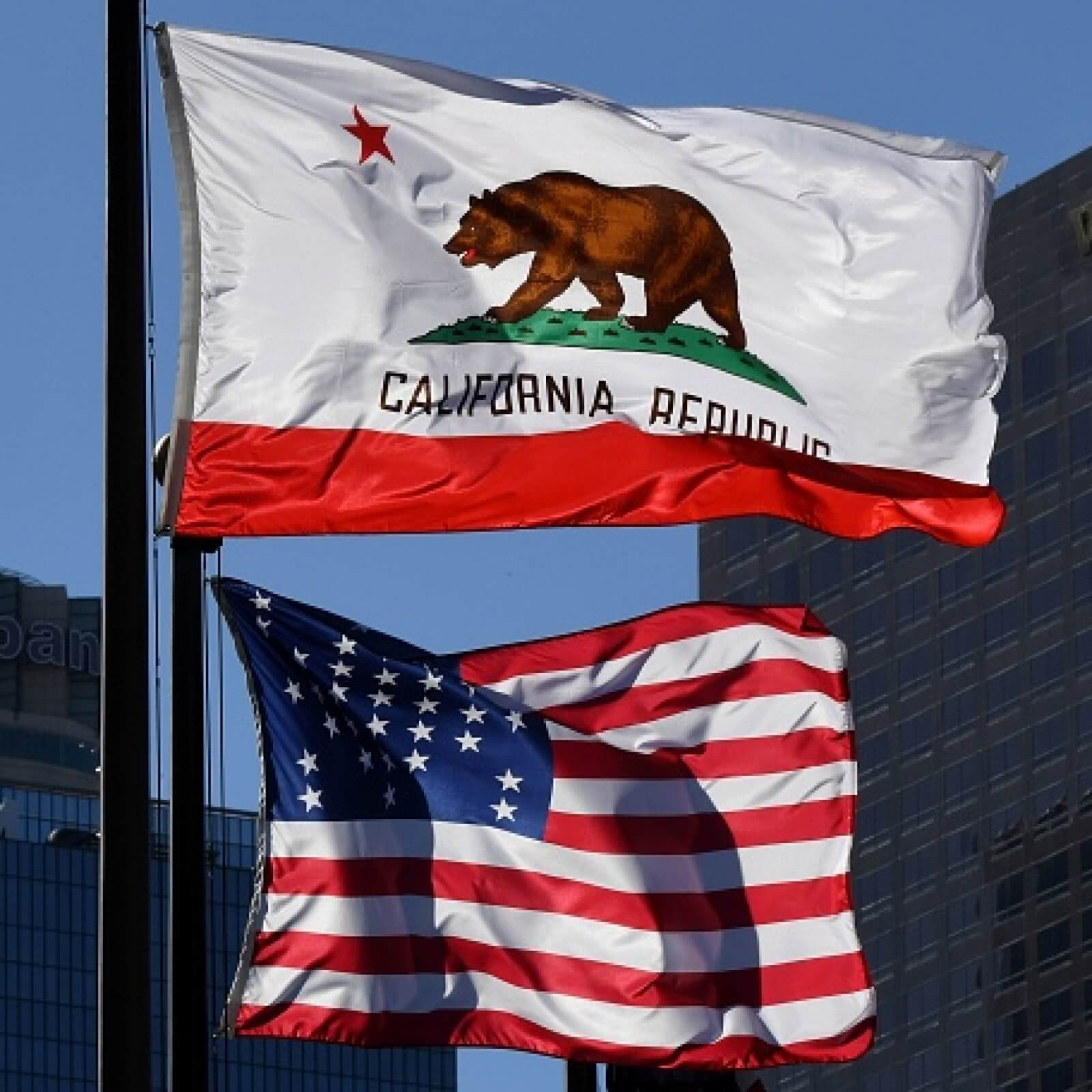 the California Bear Flag and American Flag flying on California day