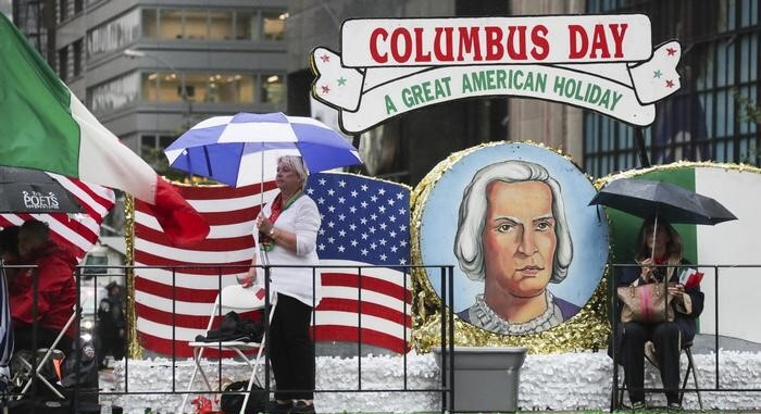 Columbus Day holiday parade in US