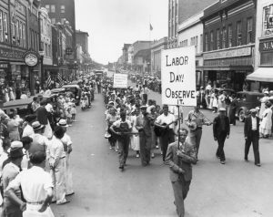 Labor Day parade history black and white picture
