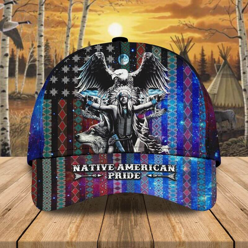A Pride Native American caps idea with eagle and wolf
