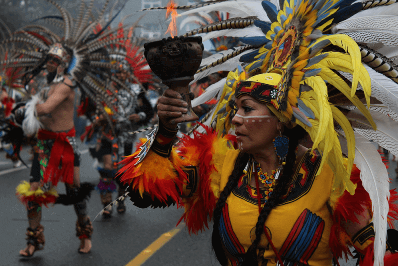 A fascinating costume parade on Native American Day