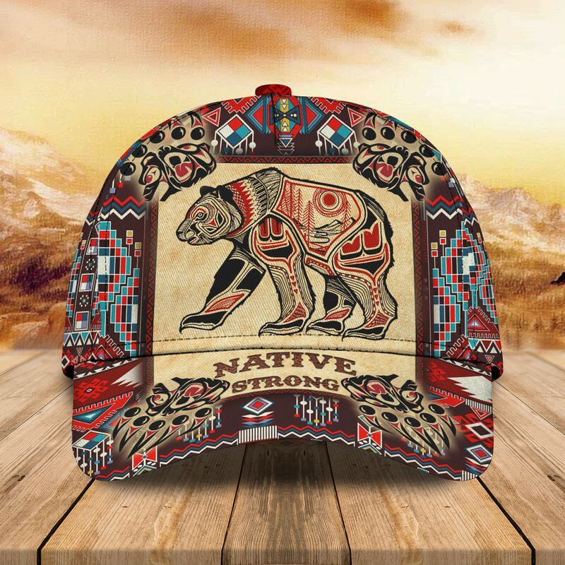 A marvelous Grizzly Bear Native American baseball cap with vivid border patterns.