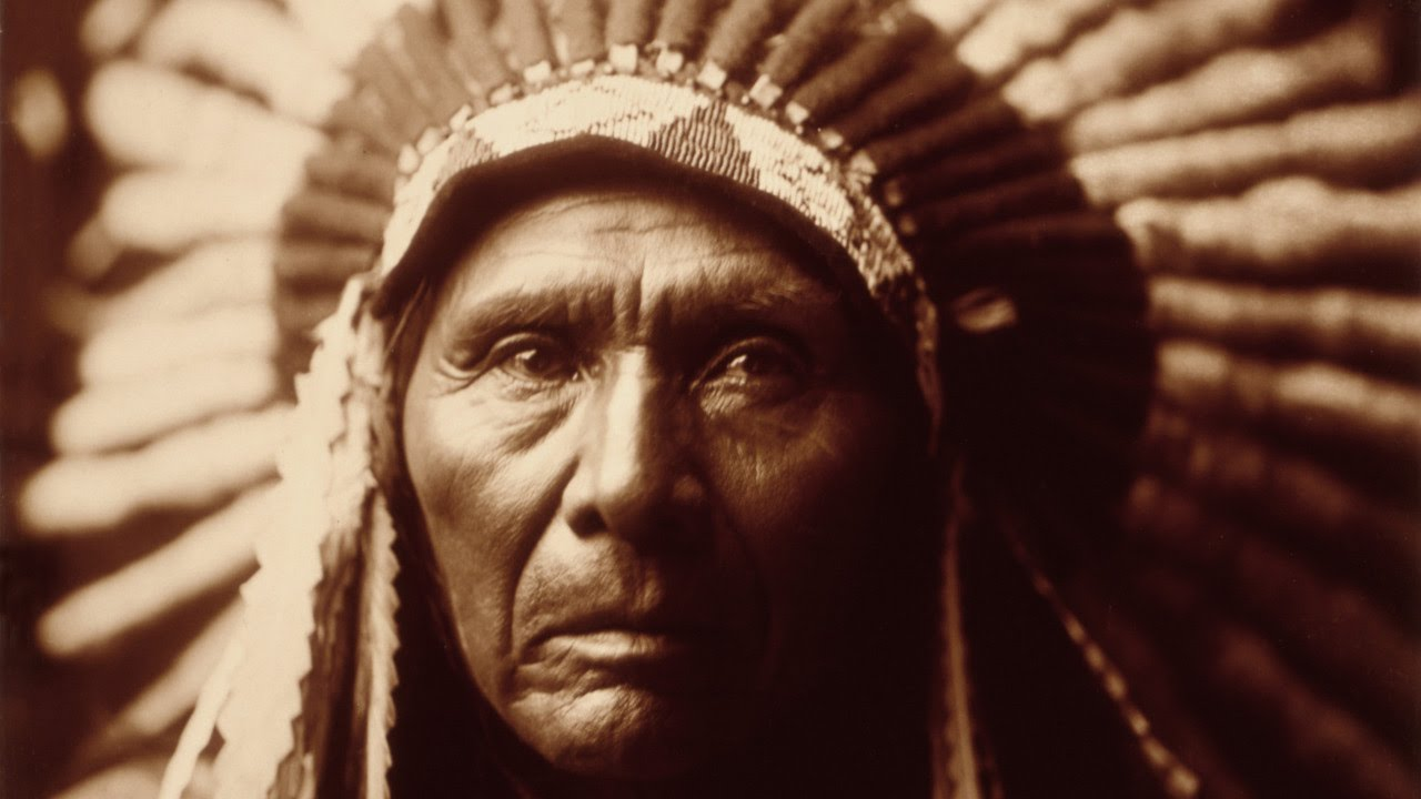 native american indian chief with headdress