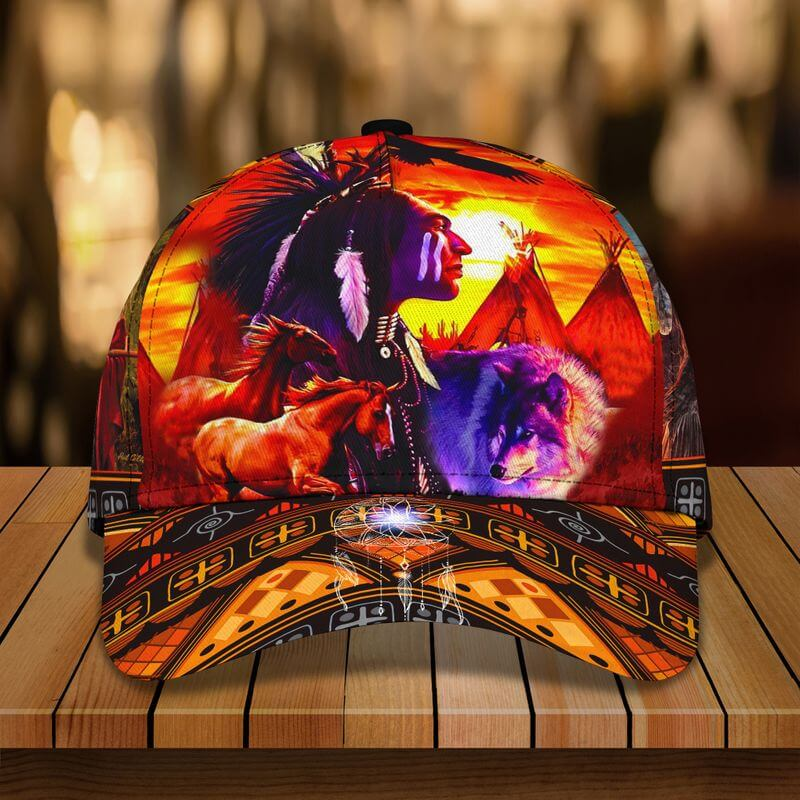 A Native American caps design with the image of a mighty Indian chief