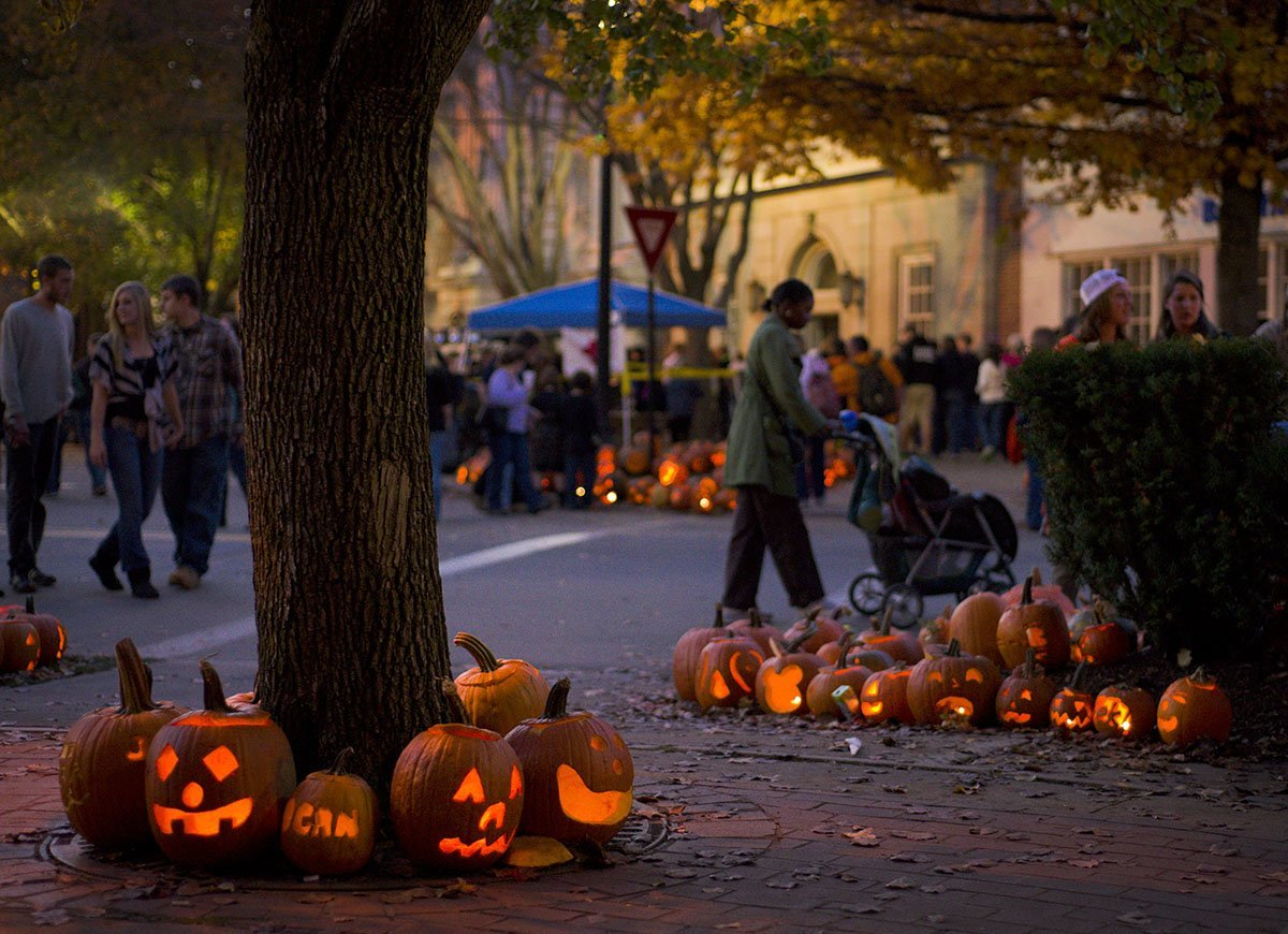 Experience the beauty of the town in fall as you walk along the street
