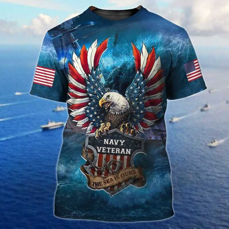 Eagle The Sea Is Ours Navy Veteran T Shirts