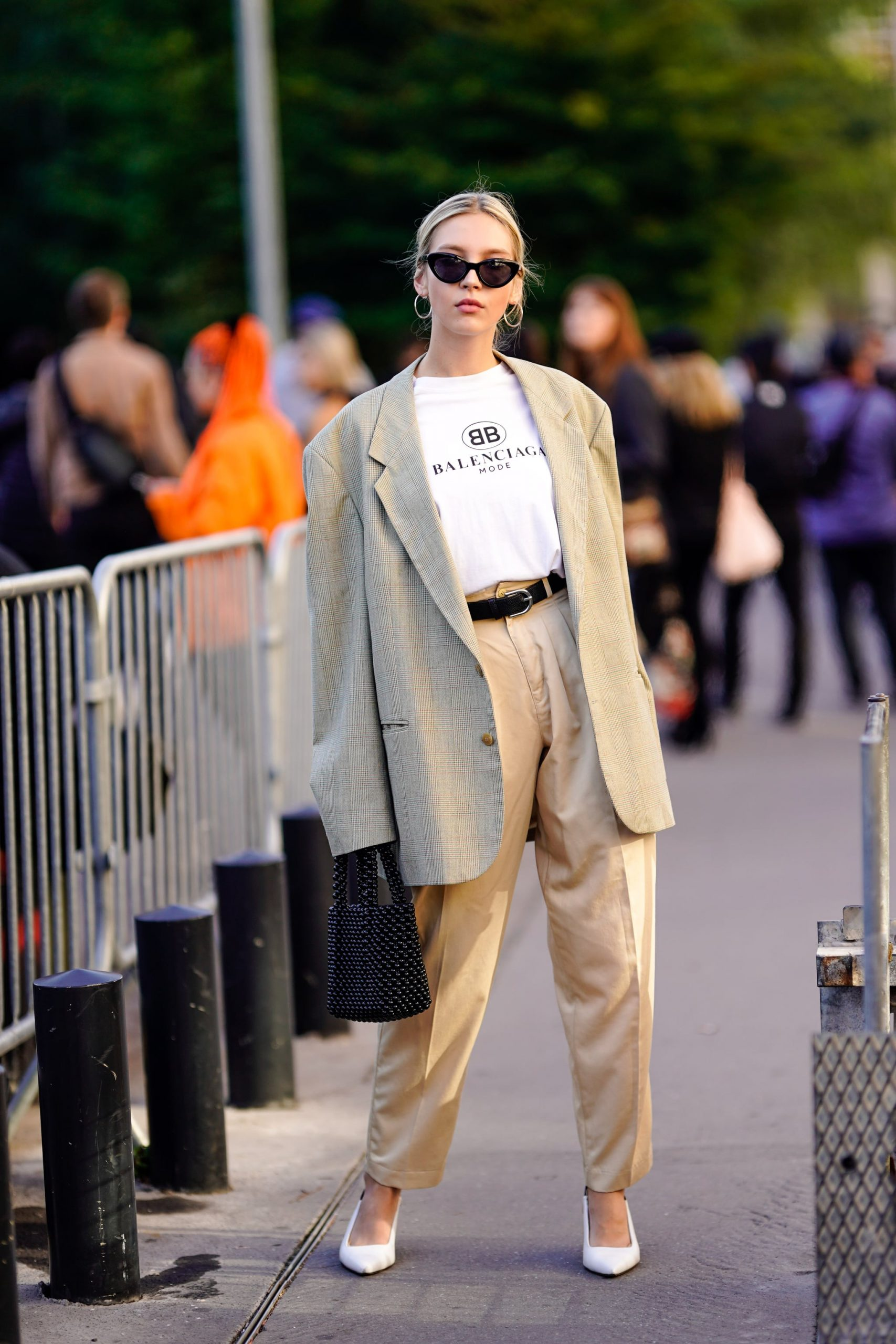 The Combination Of A Basic Tee And An Oversized Suit