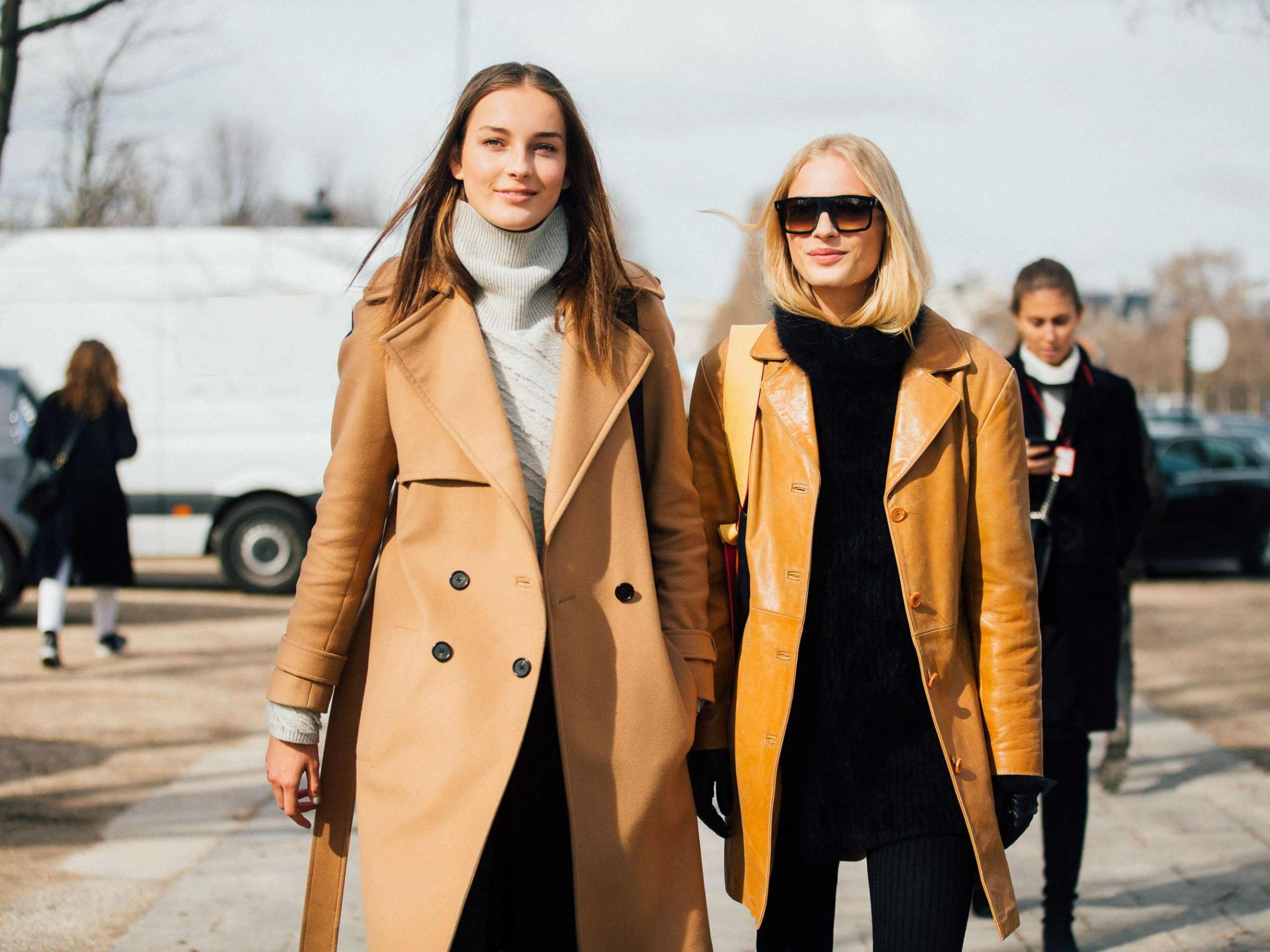 Camel-colored coats go really well with fall