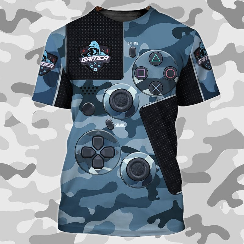 Camouflage Game Console Pattern Navy Army T Shirts