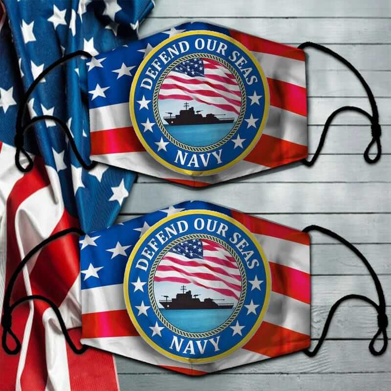 American Flag Battleship Defend Our Seas US Navy Face Mask