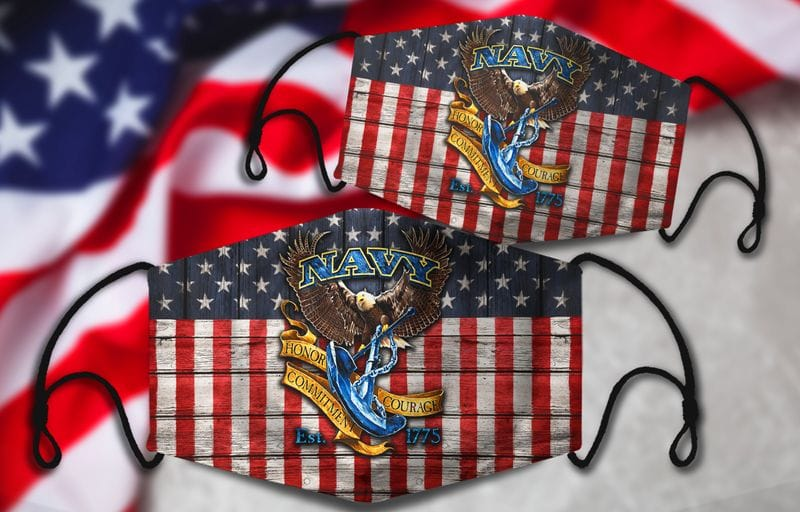 Vintage American Flag Bald Eagle With Anchor US Navy Face Mask
