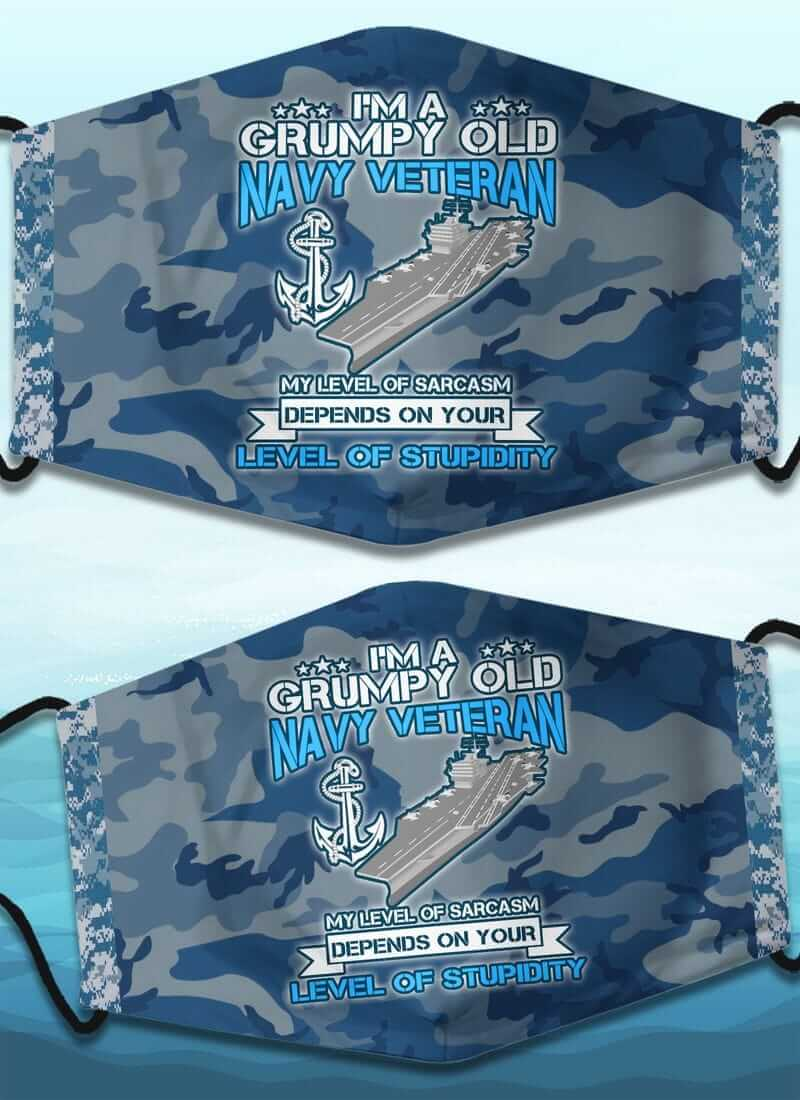 Camouflage Anchor Air Carrier Grumpy Old Veteran US Navy Face Mask