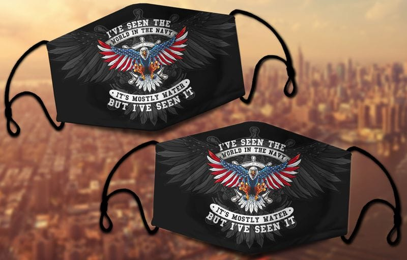 I've Seen The World In The Navy Wingspan Eagle Black Face Mask