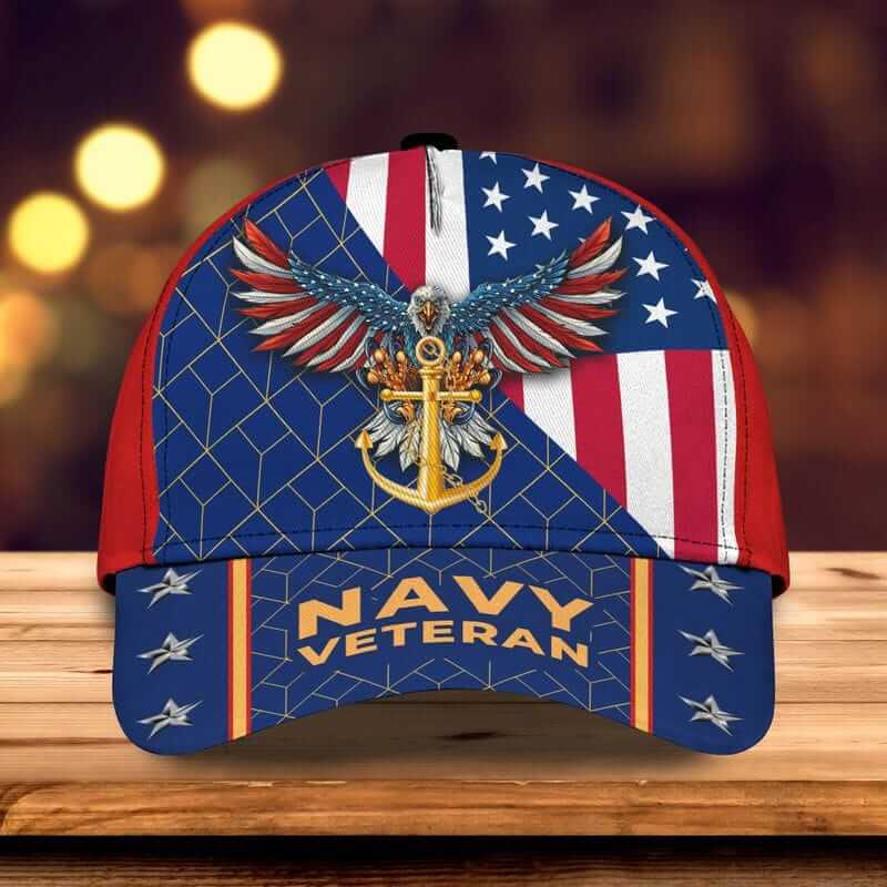 Veteran American Flag US Navy Classic Cap with wingspan eagle and anchor