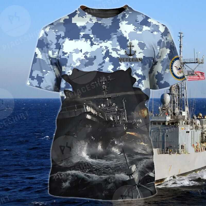 Camouflage Pattern With Anchor Navy Veteran T Shirts