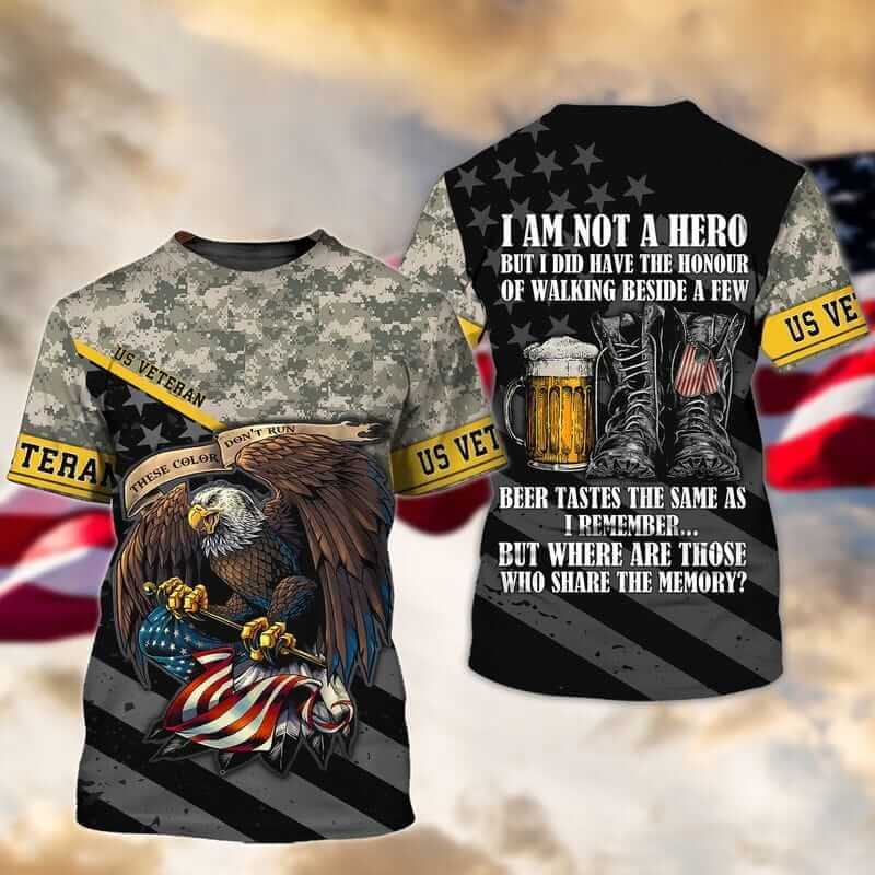 Fashionable veteran t shirts with American bald eagle