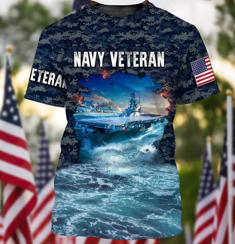 Aircraft Carrier Camouflage US Navy Veteran T Shirts
