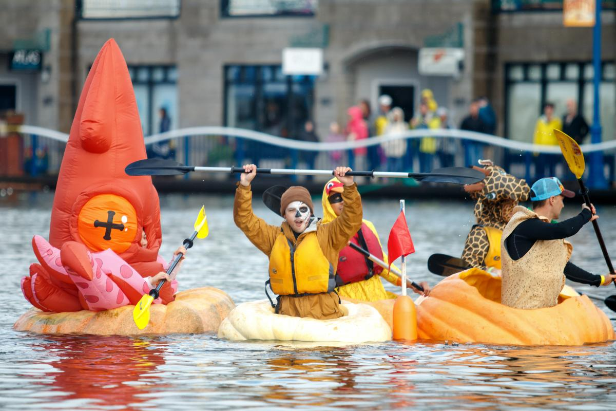paddle around the lake in a pumpkin
